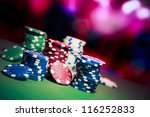 poker chips on a gaming table | Shutterstock . vector #116252833