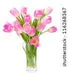 Pink Tulips Bouquet In Vase...