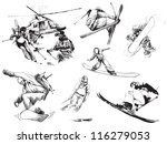 snowboarders and skiers... | Shutterstock .eps vector #116279053