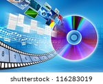Conceptual image about how a CD or DVD as a storage  to save multimedia files. Document, archive, music, picture or movie etc - stock photo
