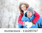 Happy Winter Travel Couple. Ma...