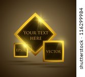 Glossy glass shiny bubble speech. Vector golden web button set. - stock vector