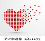 Pixel heart. Vector - stock vector