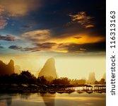 sunset landscpae of yangshuo in ... | Shutterstock . vector #116313163