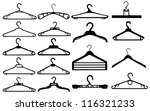 Clothes hanger silhouette collection vector illustration. - stock vector