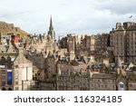 Edinburgh Skylines building Scotland UK from Monument - stock photo