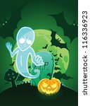 halloween poster with ghost...   Shutterstock .eps vector #116336923