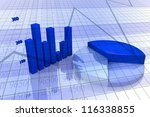 Background with diagram and chart, business image with blue tones - stock photo