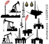 The contours of the oil industry facilities. Illustration on the production and sale of natural resources. Illustration on white background. - stock vector