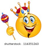 king emoticon holding a scepter