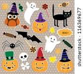 vector set of halloween stickers | Shutterstock .eps vector #116369677