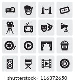 vector black movie icons set on gray - stock vector