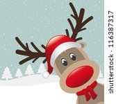 reindeer with red nose and hat... | Shutterstock .eps vector #116387317