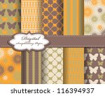 set of vector flower paper for... | Shutterstock .eps vector #116394937