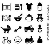Baby and newborn icon set in black - stock vector