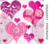 seamless valentine pattern with ... | Shutterstock .eps vector #116444563