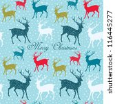 Christmas pattern with deers - stock vector