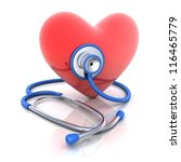 Stethoscope and abstract hearth (done in 3d) - stock photo