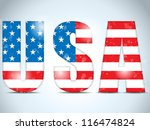Vector - USA Glass Letters with Flag Background - stock vector