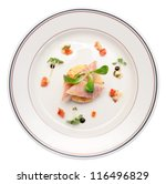 Smoked eel dish on porcelain plate, isolated - stock photo
