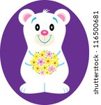 Flower Bear - stock vector
