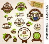 set of fresh organic labels and ... | Shutterstock .eps vector #116507527