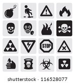 vector black danger icons set...