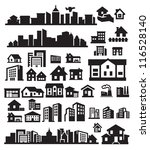 vector black houses icons set on gray - stock vector