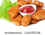 Fresh fragrant fried chicken nuggets - stock photo