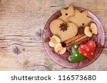 Christmas theme Still-Life with Gingerbread and Cinnamon Star Cookies and Spices on glass plate - stock photo