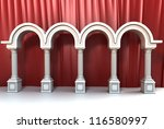 Column Corridor with Red Cloth Background - stock photo