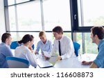 group of happy young  business... | Shutterstock . vector #116608873