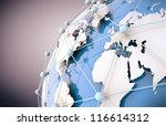 3d image of blue networking and internet concept and globe wold map - stock photo