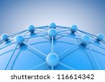 3d image of blue networking and internet concept. - stock photo