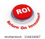 3d illustration of roi (return on investment) button - stock photo