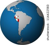 map with flag of peru on isolated over white map of globe - stock photo