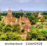 the valley of Bagan in the asian country Myanmar consists thousands of ancient temples and pagodes, all UNESCO protected - stock photo
