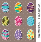 cartoon Easter egg stickers - stock vector
