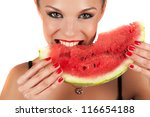 beautiful young woman eat juicy watermelon over white - stock photo