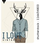 Vintage-Hipster Fashion Deer Illustration - stock vector