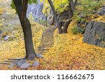Stairway with colorful autumn leaves - stock photo