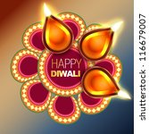 beautiful happy diwali vector... | Shutterstock .eps vector #116679007