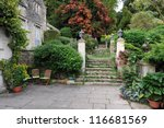 Formal Garden Courtyard - stock photo