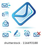 email icons set, isolated glossy vector symbols - stock vector