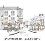 series of street cafes in the... | Shutterstock .eps vector #116694043