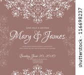 wedding card or invitation with ... | Shutterstock .eps vector #116698237
