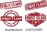 First Class Rubber Stamp Collection - stock vector
