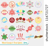 Vector Set: Vintage Mixed Candy Labels and Icons