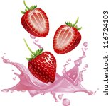 strawberry splashing into a... | Shutterstock .eps vector #116724103