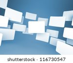 Gallery of Blank Images on Blue background. - stock photo